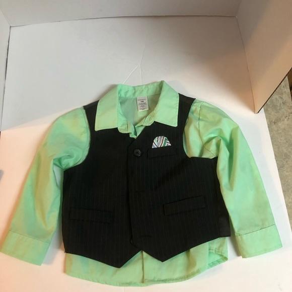 Boys green vest plaid dress shirt outfit 2T 3T 4T NWT Easter suit khaki pants